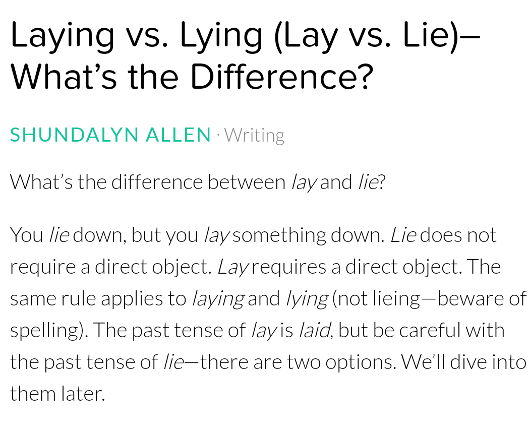 Laying vs  Lying   Mastertuition